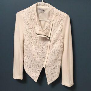 Jackets & Blazers - White lace blazer zip up